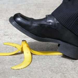 Falling on a banana peel