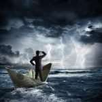businessman on dollar boat with storm and lightning