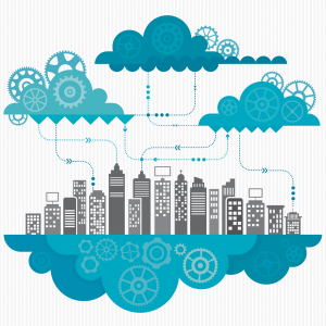 The Internet of Things shown in clouds