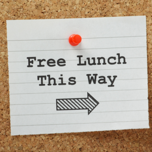 Free Lunch Sign Pointing to a Kaizen Event Session